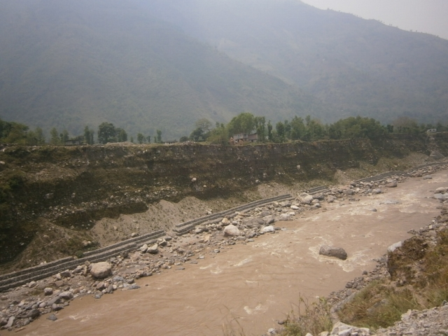 Long Terrace in Nepal Along Kali